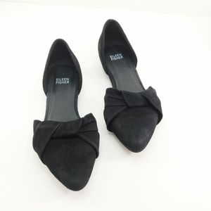 Eileen Fisher Suede Black Flats Size 7